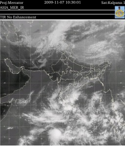 Satellite image of the north east monsoon