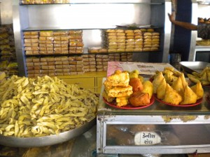 Gujarati fried snack food called Farsaan