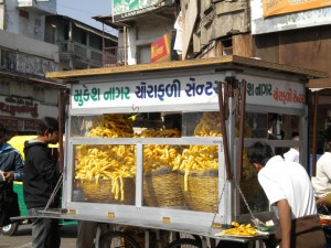 Mounds of fried snacks are to be found all over Gujarat